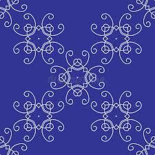 Hintergrundmuster Blau Nahtloses Damast Hintergrund Muster Auf Blau Vektor Abbildung