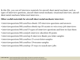 Sheet Metal Resume Examples by Top 10 Aircraft Sheet Metal Mechanic Interview Questions And Answers