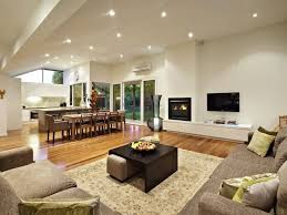 open plan house living room open plan house living room with fireplace and tv