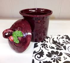 purple and red polka dot ceramic kitchen canister handmade