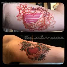 melissazimmer coverup heart tattoo banner lettering inner arm