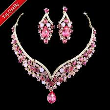 engagement jewelry sets chagne gold plated indian style pink rhinestone engagement