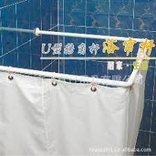 U Shaped Shower Curtain Rail Rod Straight Closet Rod Perforated Stainless Steel Rods Bathroom