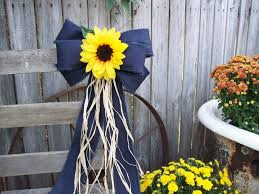 sunflower wedding decorations sunflowers sunflower and denim pew bow sunflower wedding