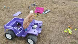 cool pink jeep so i bought my son a used pink and purple barbie powerwheels for