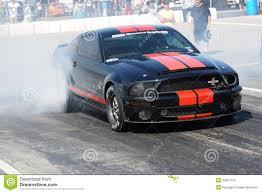 Black Mustang Red Stripes Drag Racing Editorial Image Image 43847150