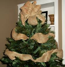 decorations burlap christmas tree topper bow with garland by