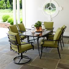 Swivel Outdoor Chair Garden Oasis Rockford 7pc Dining Set Green