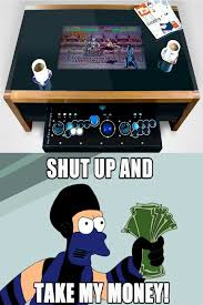 Arcade Meme - coffee table with integrated arcade meme by soydolphin memedroid