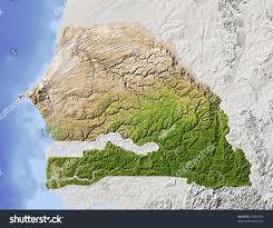 Senegal Map Senegal Shaded Relief Map Surrounding Territory Stock Illustration
