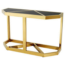 Gold Console Table Eichholtz Benoit Hollywood Regency Black Glass Gold Console Table