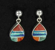 native american sterling silver earrings navajo multi stone