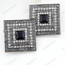 Blair Delmonico Crystal Beaded Chandelier Crystal Black Clip On Costume Earrings Ebay