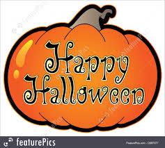 happy halloween text art halloween pumpkin with happy halloween sign stock illustration