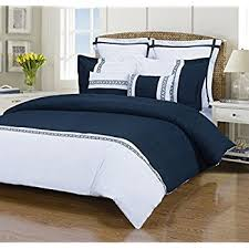Queen Duvet Cover Sets Amazon Com Hotel Navy And White 3 Piece Full Queen Duvet Cover