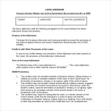 sample lease addendum form 14 download free documents in pdf word