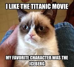 Titanic Funny Memes - the titanic movie grumpy cat meme