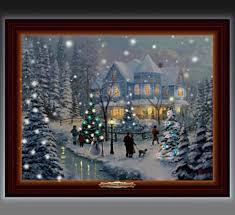 thomas kinkade lighted pictures thomas kinkade a christmas homecoming lighted musical canvas print