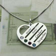 personalized family necklace family necklace necklace with kids names engraved heart