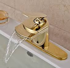 Amazon Bathroom Sink Faucets by Rozin Gold Finish Waterfall Spout Single Lever Bathroom Sink
