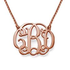 plated rose gold necklace images Celebrity monogram necklace in 18k rose gold plating jpg