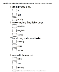 adjective worksheets grade 1 identifying adjectives in a sentence worksheet turtle diary