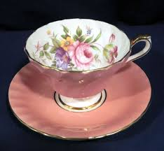 aynsley bone china pink or peach fluted with floral flowers cup