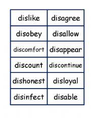 prefixes dis word and definition match