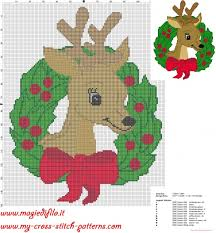 cross stitch pattern garland christmas reindeer christmas free