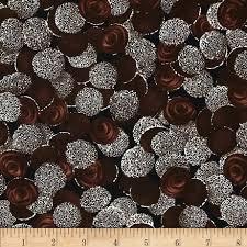 chocoholic chocolate dots black discount designer fabric