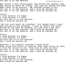 baptist hymnal christian song his eye is on the sparrow lyrics