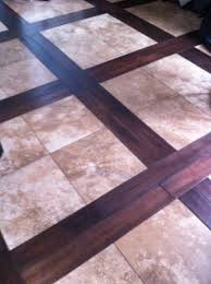 travertine and wood this floor is travertine tile with a woven