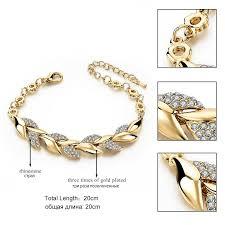 bracelet luxury crystal images Toucheart braided gold color leaf bracelets bangles with stones jpg