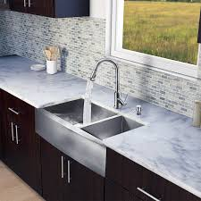 Sink With Double Faucet Decor Long Grey Stainless Apron Sink With Cool Faucet For Kitchen