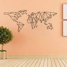 Aliexpress Home Decor Aliexpress Com Buy Creative Geometric World Map Vinyl Wall Decal
