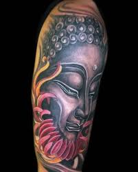 mind blowing upper sleeve buddha and red flower tattoo design