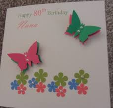 handmade butterfly and flowers birthday card for mother sister