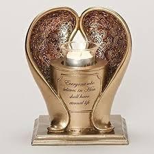 memorial tea light candle holder gold angel wings 8 inch bereavement memorial tea light candle holder