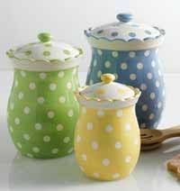 Green Canister Sets Kitchen - blue yellow and green polka dot canisters with ruffle edge these