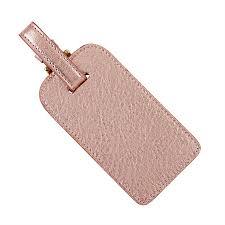 graphic image rose gold luggage tag metallic goatskin leather