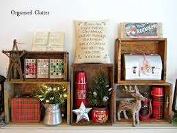 an organized cluttered rustic crate christmas mantel christmas