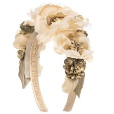 flower hairband ivory gold flower hairband childrensalon