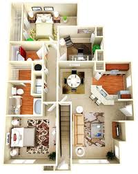 Apartment Designs And Floor Plans 50 Three U201c3 U201d Bedroom Apartment House Plans Breakfast Bars