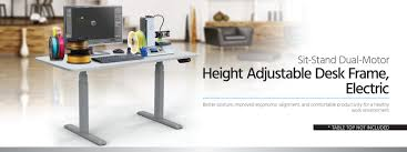 Motorized Adjustable Height Desk by Sit Stand Dual Motor Height Adjustable Desk Frame Electric Gray