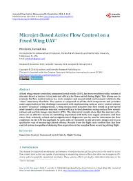 si e r ausseur b microjet based active flow on a fixed wing uav pdf