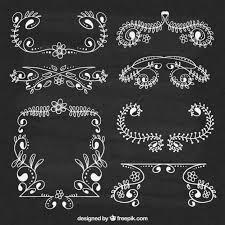 floral ornaments on blackboard vector free