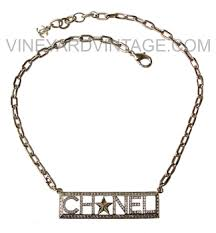 Nameplate Necklaces Chanel 2017 Cruise Collection Crystal Nameplate Necklace