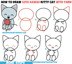 how to draw cute kawaii kitten cat playing with yarn easy step