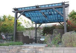 Pergola Covering Ideas by Exterior Cool Blue Pergola Covers Design With Wooden Pillars Also