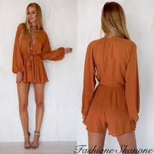 plunging neckline shorts jumpsuit with plunging neckline